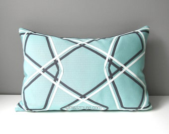 INVENTORY SALE - Modern Aqua Blue Geometric Pillow Cover, Decorative Grey White Throw Pillow Case, Lattice Sunbrella Outdoor Cushion Cover