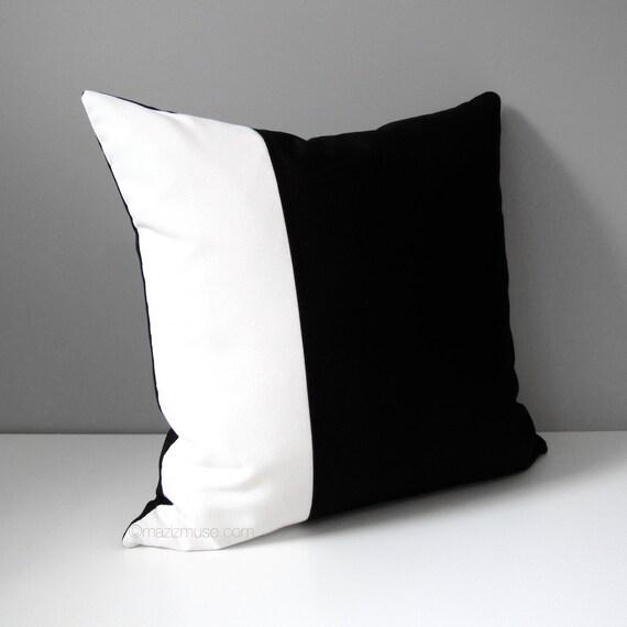 Black White Outdoor Pillow Cover, Modern Color Block Pillow Case, Decorative Throw Pillow Case, Masculine Sunbrella Cushion Cover, Mazizmuse
