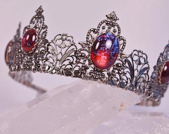 Dragon's Breath Renaissance Tiara Mexican Opal Crown Medieval Game of Thrones Tudor Filigree