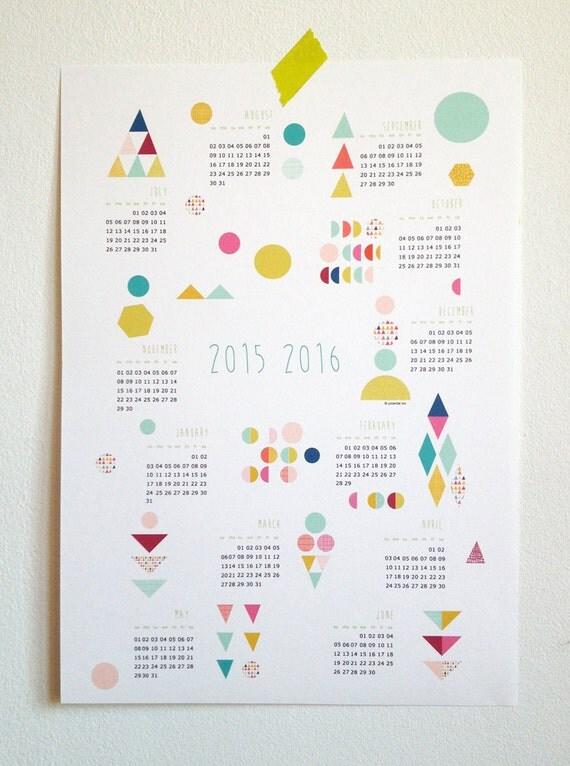Calendar Poster Size : Items similar to printable calendar july june