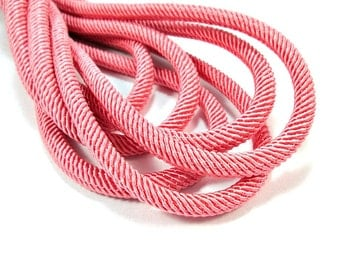 Rib silk cord, 7mm coral pink cord - 1m
