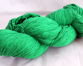 30% off STORE CLOSING SALE Kelly Green Recycled Cotton Yarn, Worsted Yarn - 394 Yards