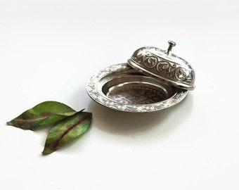Vintage Miniature Bonboniere, Ring Dish, Snacks Serving Cup with Tap, Engraved Metal