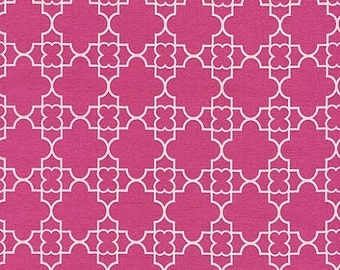 Paris 2015 Fabric by Timeless Treasures Pink Quatrefoil with White