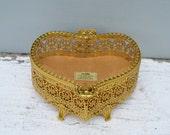 Antique 24Kt Gold Plated Heart Shaped Casket . Trinket Box . Heart Shaped . Excellent .