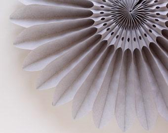 """18"""" Gray Flower Fan, Gray Tissue Paper Fan, Grey Honeycomb Fan, Wedding Decor, Anniversary Decor"""