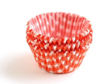 Orange Gingham Cupcake Liners, Orange Plaid Cupcake Liners, Halloween Cupcake Liners (50)