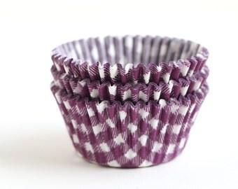 Purple Gingham Cupcake Liners (50) Purple Plaid Baking Cups