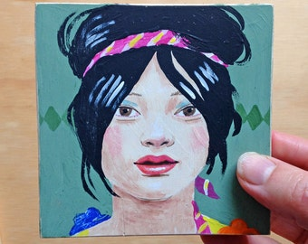 Original painting: Tilly, tiny portrait, one of a pair