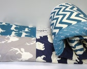Modern Baby Quilt-Organic Birch Fabric-Baby Boy Bedding-Chevron-Gray-Grey- Navy Blue-Teal-Woodland Animal-Elk-Buck-Bear-Deer Baby Quilt