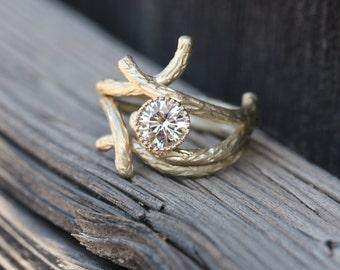 Woodland Branch Wedding Ring Set Moissanite Forever Brilliant 14k Yellow White Rose Gold Palladium Rustic - Sparkle Bark and Shadow Bark