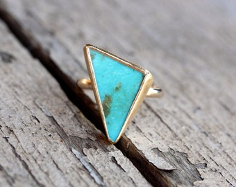 Tribal Triangle Turquoise Statement Ring Luxurious 22K and 14K Yellow Gold Silver Modern Boho Blue Green Zen Geometric Southwest - Tri-Bal