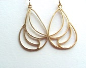 Art deco abstract gold teardrop cut-out earrings, 14k gold plated