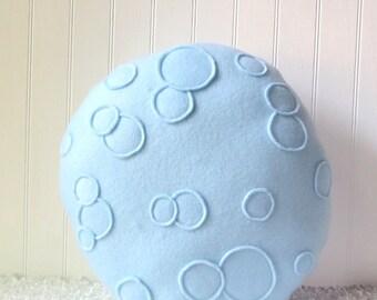 """Full Moon Pillow, Moon Plush, 15"""" pillow, round pillow, blue moon pillow"""