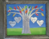 Personalized Tin Anniversary Gift Wedding Gift Hearts Family Tree Engraved Dates and Names Stamped
