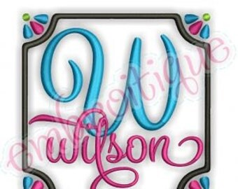 Wilson Monogram Font Frame- Instant Email Delivery Download Machine embroidery design