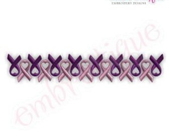 Row Of Ribbons - Breast Cancer Awareness Ribbons - Instant Download