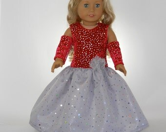18 inch doll clothes, Red  and Silver Full Length Ball Gown, 06-0305