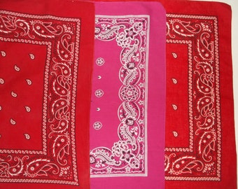 Vintage Red & Hot Pink Cotton Paris Bandanna Lot • 3 count • bandanas made in U.S.A.