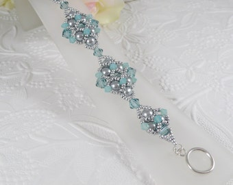 Woven Silver Gray Pearl Bracelet with Swarovski Crystals