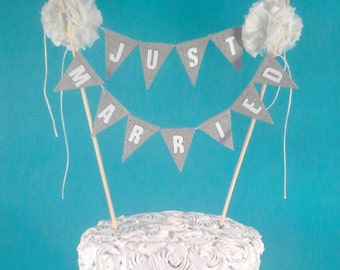 "Wedding cake bunting, Linen, Ivory ""Just Married"", cake Bunting L032 - wedding cake banner"