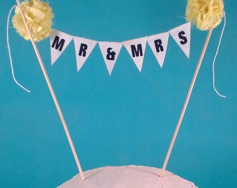 "Wedding Cake banner, wedding, yellow, navy cake bunting ""Just Married"" Banner D2846 - shabby chic cake banner"