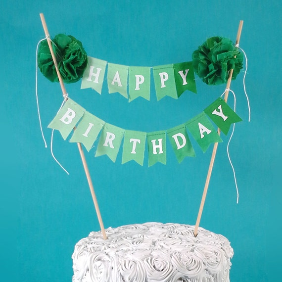 birthday cake banner green ombre happy birthday