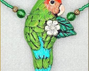 Hand Sculpted Lovebird Necklace by Kristy Zgoda