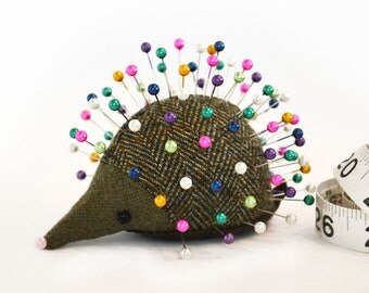 Pincushion, Hedgehog, upcycled wool, handmade, Hazel Hops