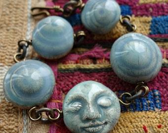 Celadon Moon Face Bracelet