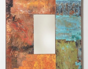 42x34 Metal and Copper Mirror