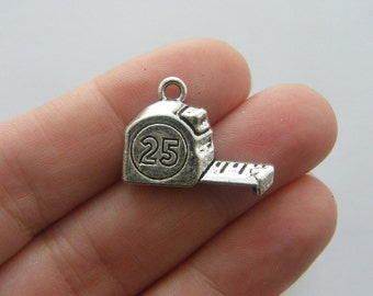 6 Tape measure charms antique silver tone TU26