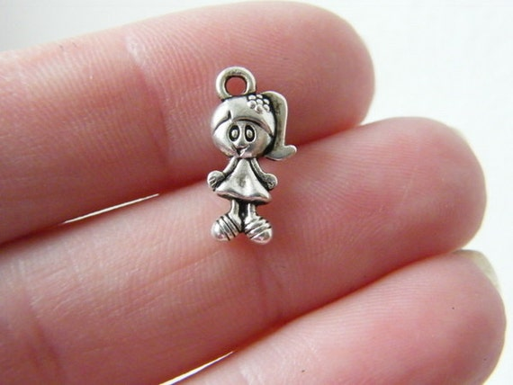 12 Girl charms antique silver tone P89