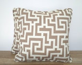 Greek Key outdoor pillow case 18x18, beige outdoor cushion for lounge chair, geometric cushion case outside bench, taupe throw pillow case