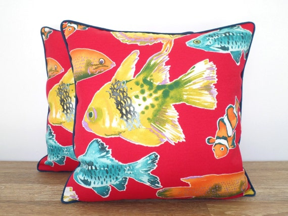 red outdoor pillow cover 20x20 beach house decor by anitascasa. Black Bedroom Furniture Sets. Home Design Ideas