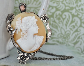 sterling silver oversized statement piece neckalce, ANCIENT TIMES, vintage shell cameo necklace, pink coral accent, large pendant