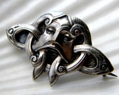 RESERVED LISTING Rare David Andersen Celtic face pin brooch - vintage jewelry