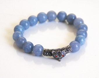 Natural Aquamarine Bracelet With Rhinestone Slider- Beaded Bracelet- Stretch Bracelet- Women's Bracelet- Blue Bracelet-Handmade Bracelets