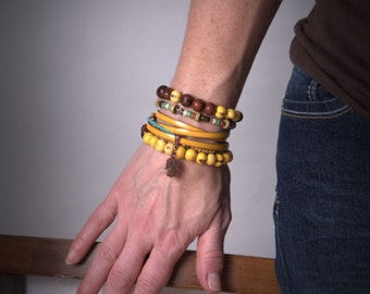 Acai Yellow and Chocolate Brown Beaded Stretch Bracelet, natural, stacking bracelet, layering bracelet