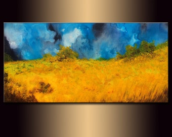 Original Valley Summer Day Landscape Painting Fine Art On Canvas by Henry Parsinia new wave Art Gallery 48x24