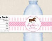 Horse Party - 100% waterproof personalized water bottle labels
