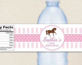 Pony Party / Horse Party - 100% waterproof personalized water bottle labels
