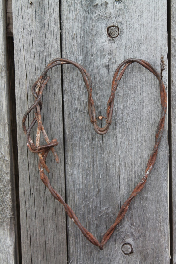 Decorative Wall Hanging Hearts : Handmade rusted wire heart hanging wall decor