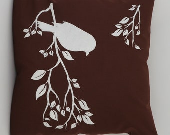 "Bird On Branch Pillow Cover, Embroidery, Spring Pillow, Summer Pillow, Decorative Pillow, Accent Pillow, 18""x18"", Brown, Ready to ship"