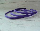 Set of 2 ~ 7mm Purple Satin Headbands