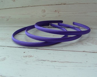 Set of 2 ~ 7mm Purple Satin Headbands