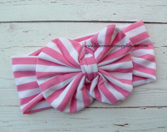 Pink Striped Bow and Knit Headband