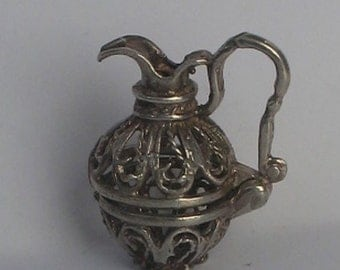 SALE Vintage Sterling  Filigree Pitcher Charm