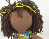 READY TO SHIP Cuddly Rag doll, dark skin tone, mop of dark brownhair, Cloth Doll, Plush Toy, Soft Doll, Fabric Doll, Stuffed Doll, Ragdoll