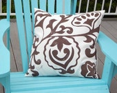 """Outdoor pillow JACOBEAN STYLE hand-painted 20"""" (50cm) botanical floral leaves don't be crewel Crabby Chris Original"""
